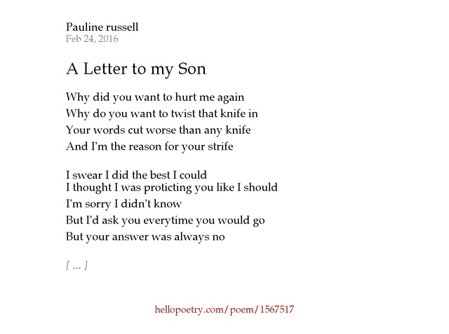A Letter to my Son by Pauline Russell Hello Poetry