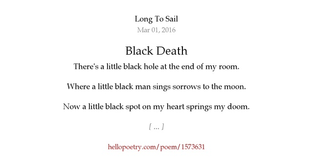 about the poem the little black Little black bug little black bug, little black bug where have you been i've been under the rug, said little black bug bug-ug-ug-ug little green fly.