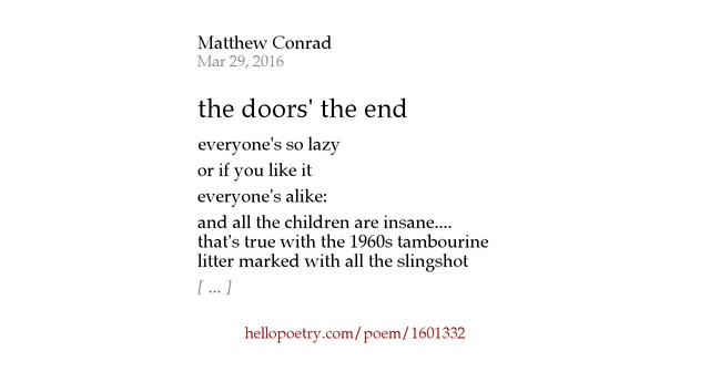 the doors 39 the end by mateu conrad hello poetry. Black Bedroom Furniture Sets. Home Design Ideas