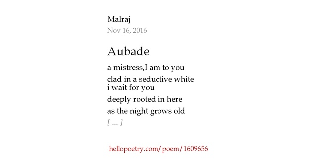 aubade poem An aubade is a morning love song (as opposed to a serenade, which is in the evening) , or a song or poem about lovers separating at dawn it has also been defined as ''a song or instrumental composition concerning, accompanying, or evoking daybreak'.