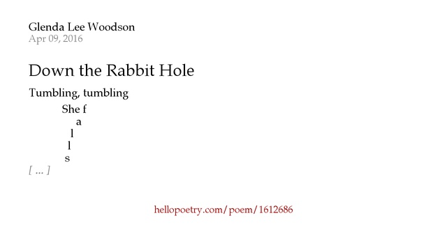 Knitting Rhyme In Through The Bunny Hole : Down the rabbit hole by glenda lee woodson hello poetry