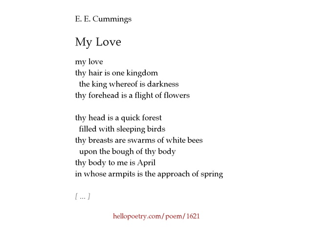 e e cummings essays The hypertexts e e cummings edward estlin cummings (october 14, 1894–september 3, 1962) was an american poet, painter, essayist, author, and playwright.