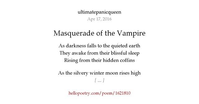 Masquerade of the Vampire by ultimatepanicqueen - Hello Poetry