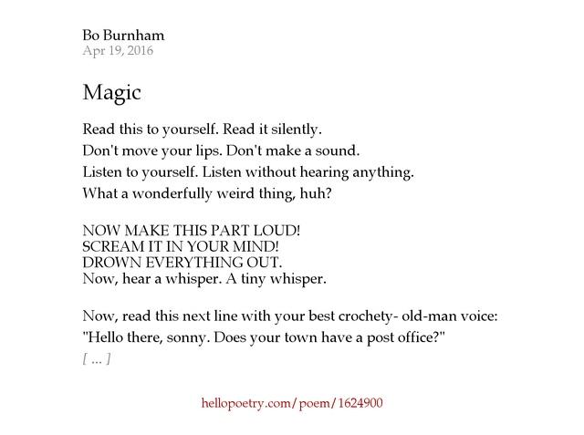 Magic by Bo Burnham - Hello Poetry