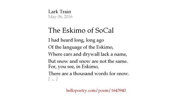 The eskimo of socal by lark train hello poetry