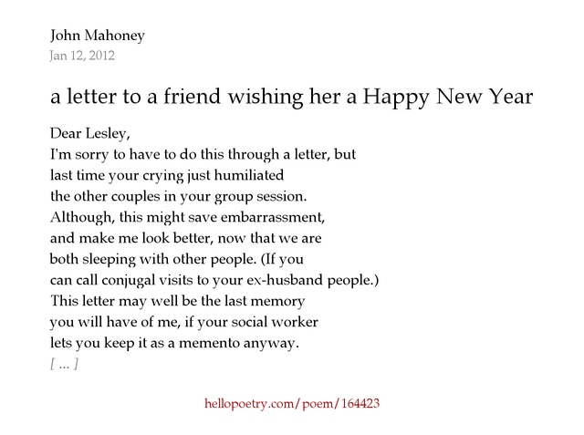 a letter to a friend wishing her a Happy New Year by John Mahoney