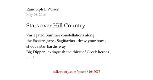 Stars over Hill Country ... by Randolph L Wilson - Hello ...