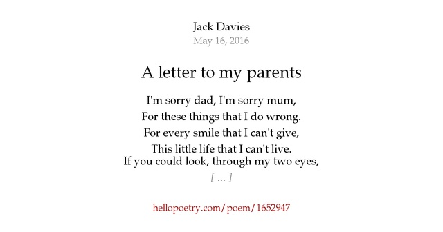 A letter to my parents by Jack Davies - Hello Poetry