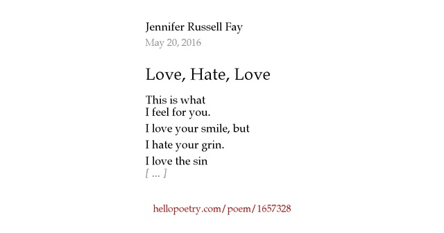 I Hate You Poems: Love, Hate, Love By Jennifer R Fay