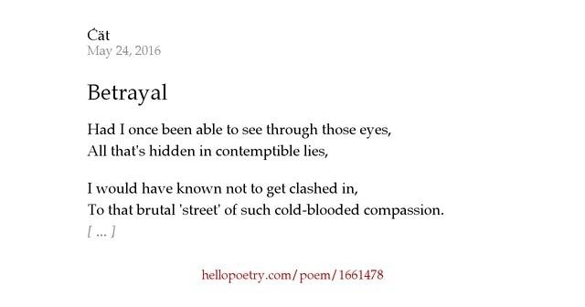Betrayal Poems: Betrayal By Rachel