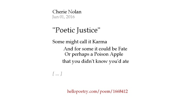 the poetry in poetic justice Follow us on twitter @ janet jackson's character in the film 'poetic justice' recites the poems 'alone' & phenomenal woman.