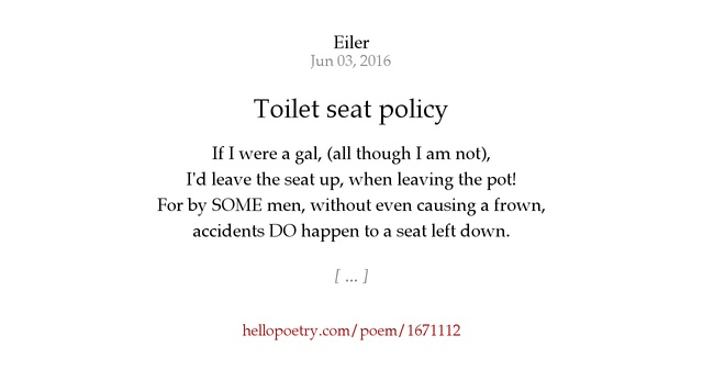 Toilet seat policy by Eiler - Hello Poetry