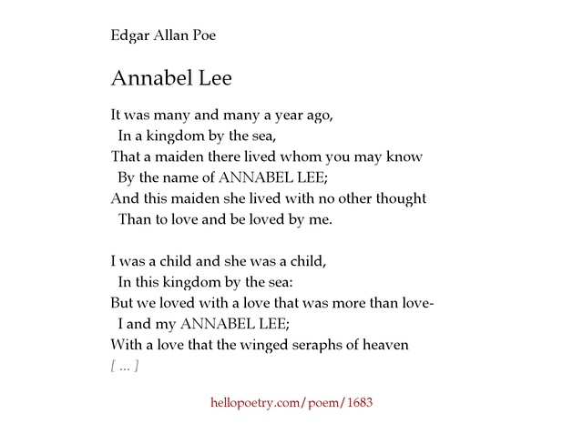 correlation between poes life and annabel lee english literature essay I am writing a 6 page essay on annabel lee d write some about poe about his own love life annabel lee by edgar allan poe.