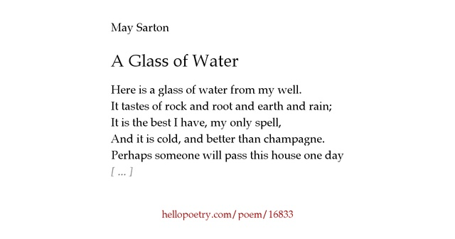 A Glass of Water by May Sarton - Hello Poetry