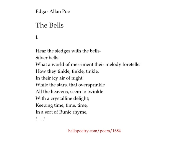 The Bells by Edgar Allan Poe - Hello Poetry
