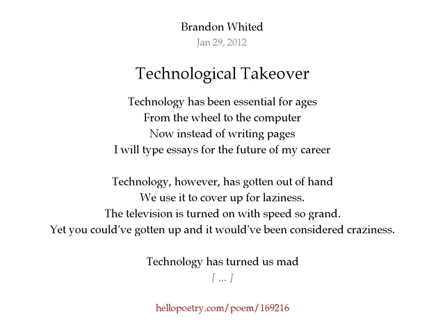 technological takeover by brandon whited hello poetry