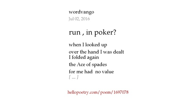 Poetry poker poem