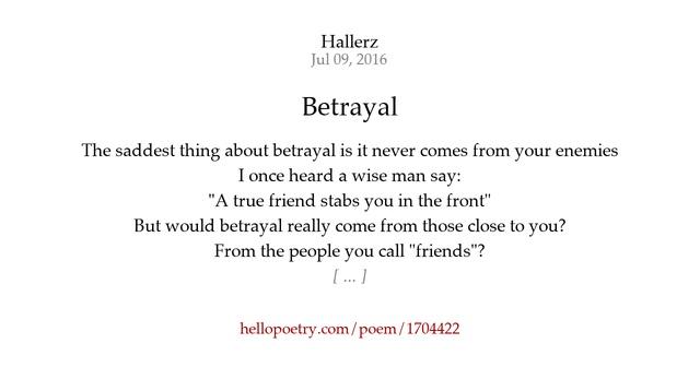 Betrayal Poems: Betrayal By Hallerz