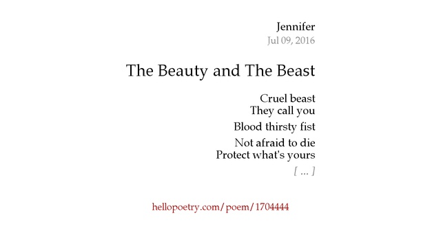 beauty and the beast poetry Sharpen your pencils and rev your computer engines, it's the last day of the  autumn poetry challenge our theme is the beauty and the beast.