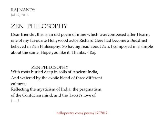 ZEN PHILOSOPHY by RAJ NANDY - Hello Poetry