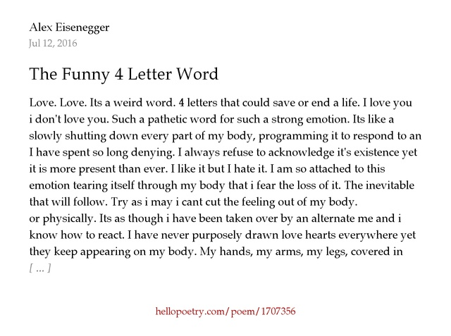 The Funny 4 Letter Word by Alex Eisenegger Hello Poetry