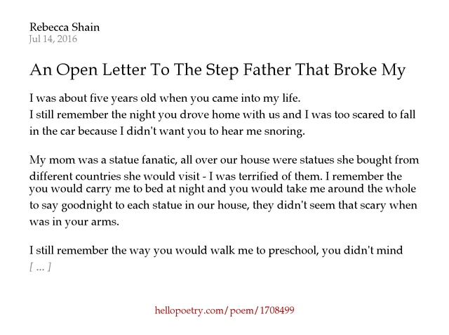 An Open Letter To The Step Father That Broke My Heart by Rebecca