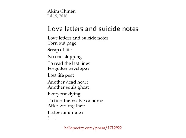 love letters and suicide notes by akira chinen - hello poetry