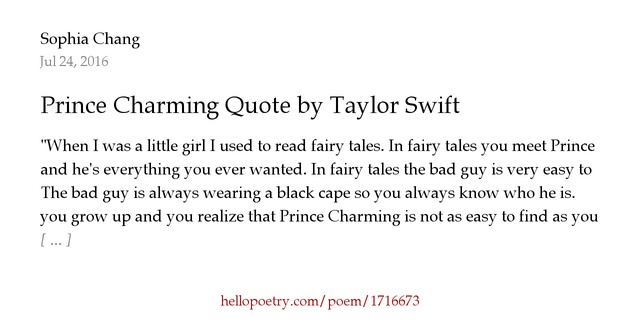 Prince Charming Quote By Taylor Swift By Sophia Chang