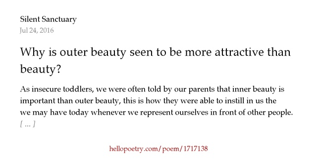 Why Is Outer Beauty Seen To Be More Attractive Than Inner By Silent Sanctuary