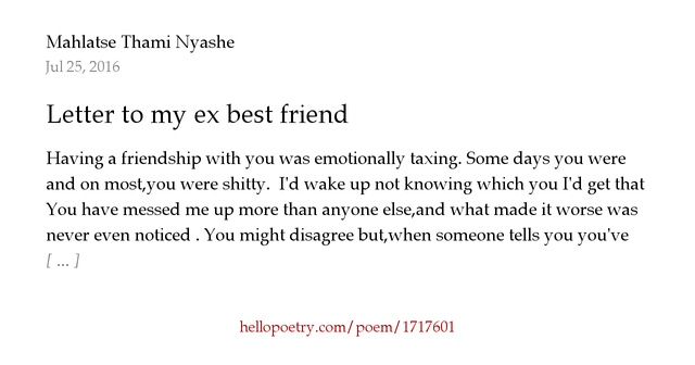 Letter to my ex best friend by Thami Hello Poetry