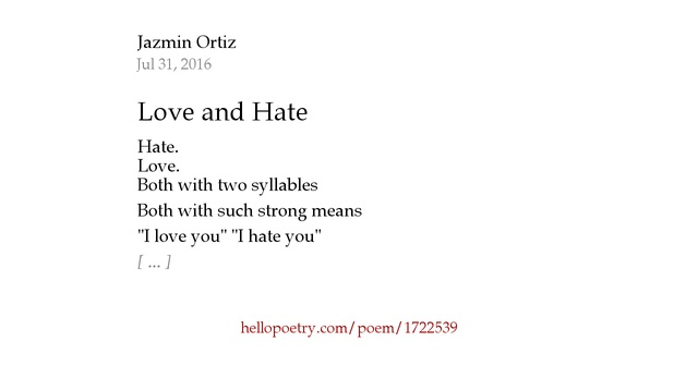 I Hate You Poems: Love And Hate By Jazmin Ortiz