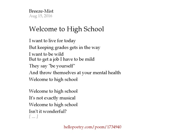 Welcome to High School by Breeze-Mist - Hello Poetry