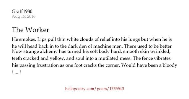 Dustin Hoffman Hair Plugs >> The Worker by Graff1980 - Hello Poetry