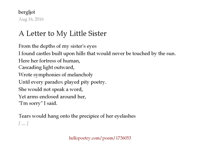 A Letter to My Little Sister by bergljot Hello Poetry