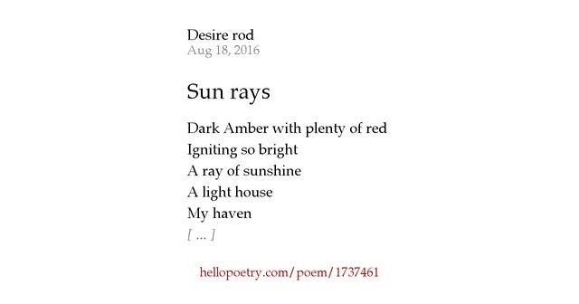 Sun rays by Desire rod - Hello Poetry