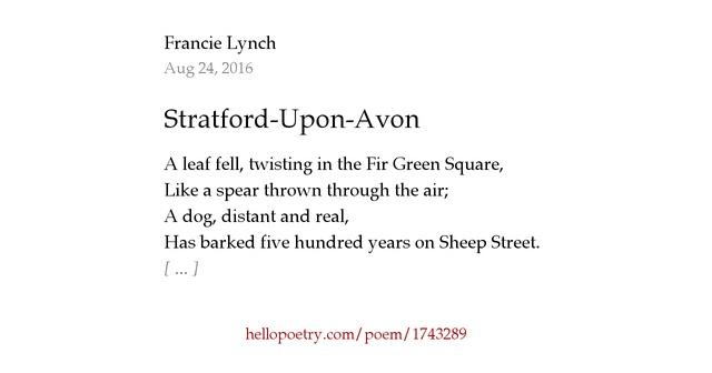 Stratford Upon Avon By Francie Lynch Hello Poetry
