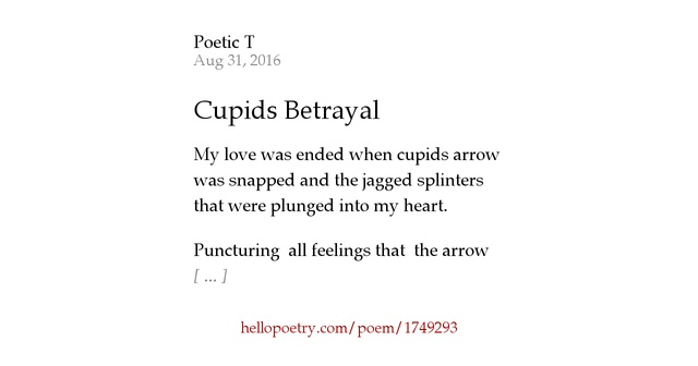 Betrayal Poems: Cupids Betrayal By Poetic T