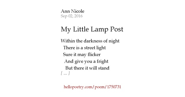 My little lamp post by ann nicole hello poetry for Lamp light poem