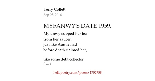MYFANWY'S DATE 1959. by Terry Collett — Hello Poetry