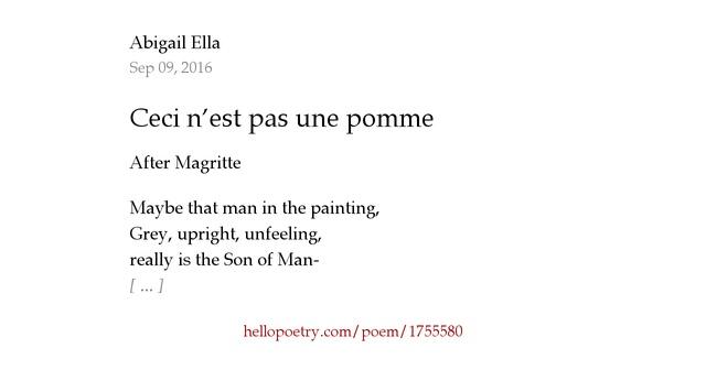 Ceci n est pas une pomme by abigail ella hello poetry - Ceci n est pas une chaise ...
