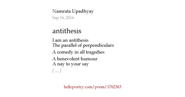 poem with antithesis in it Examples of antithesis: action, not words a sonnet is a fourteen-line poem in iambic pentameter with a carefully patterned rhyme scheme.