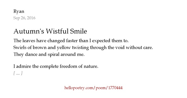 Autumn's Wistful Smile by Ryan M Hall - Hello Poetry