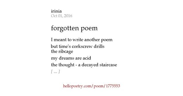 forgotten poem by irinia