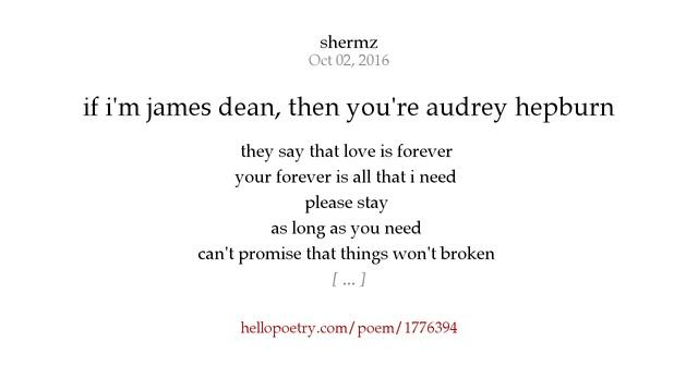 If I M James Dean Then You Re Audrey Hepburn By Shermz