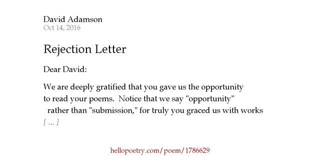 Rejection letter by david adamson hello poetry altavistaventures Images