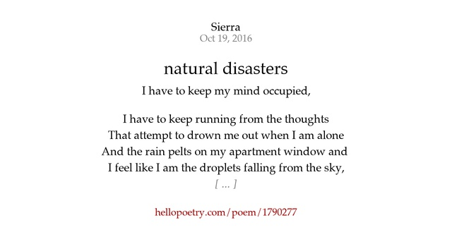 Poems On Natural Disasters