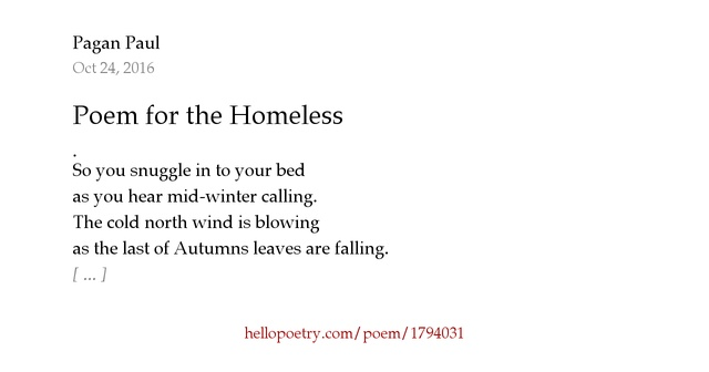 Poem For The Homeless By Pagan Paul Hello Poetry