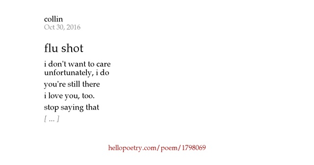 flu shot by collin   hello poetry
