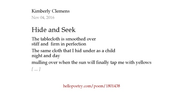 hide and seek poem It was the memory of this poem that prompted my teaching virtual hide and seek  to my grandsons when they were very young we spent happy times together.