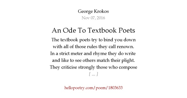 An Ode To Textbook Poets by George Krokos - Hello Poetry